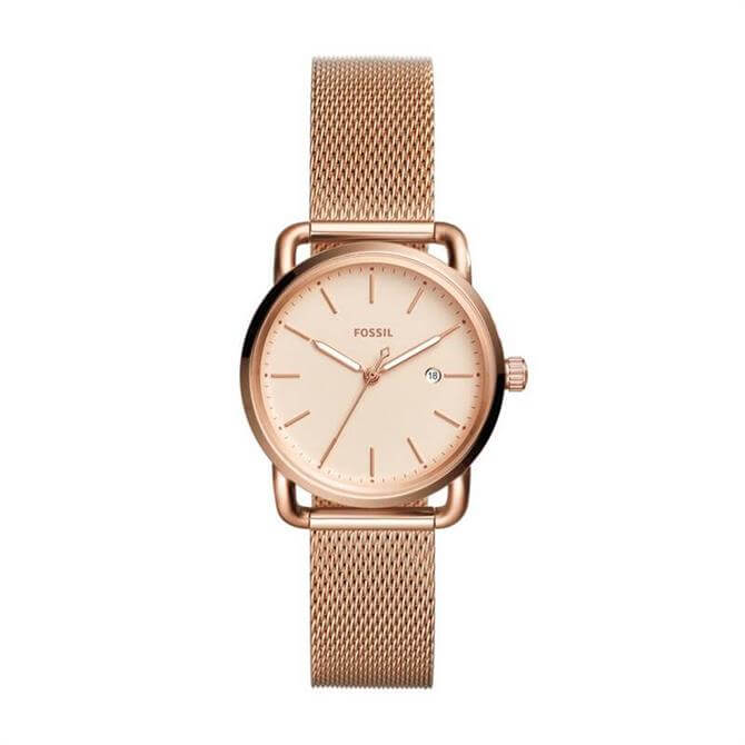Fossil The Commuter Three Hand Date Rose Gold Tone Stainless Steel Watch