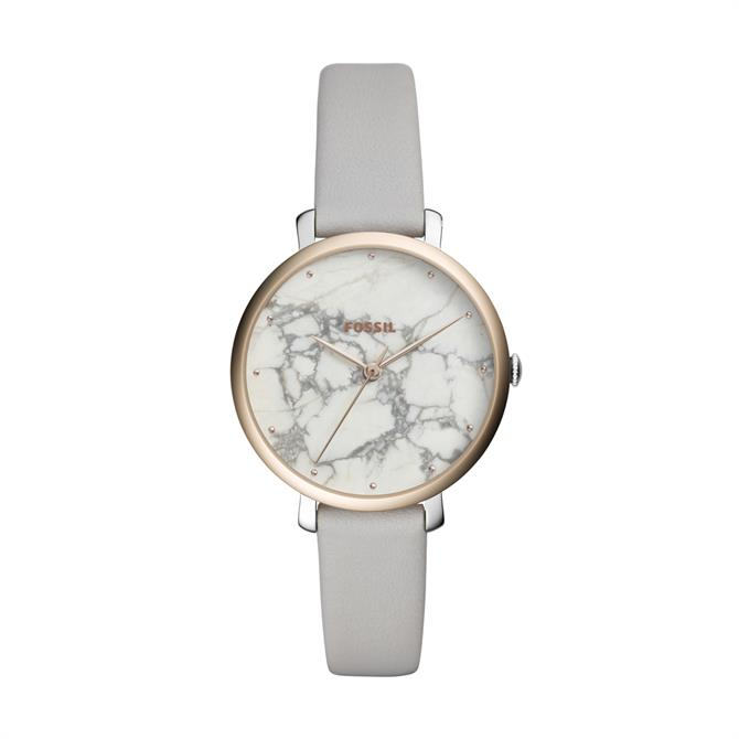 Fossil Jacqueline Three Hand Mineral Grey Leather Watch