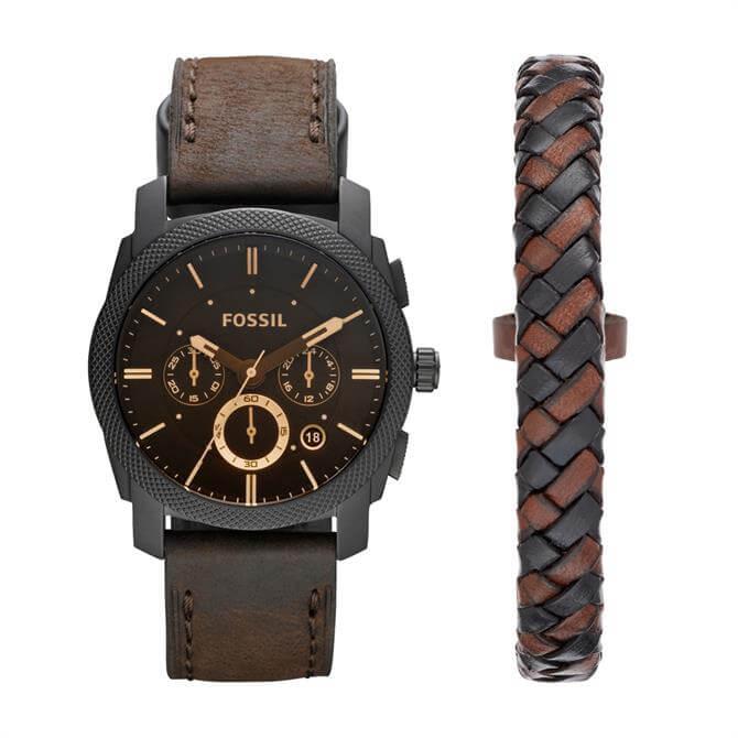 Fossil Machine Chronograph Dark Brown Leather Watch & Bracelet Box Set
