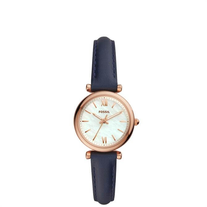 Fossil Carlie Mini Three Hand Navy Leather Watch