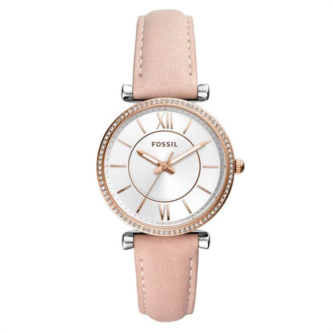 Fossil Carlie Three-Hand Blush Leather Watch