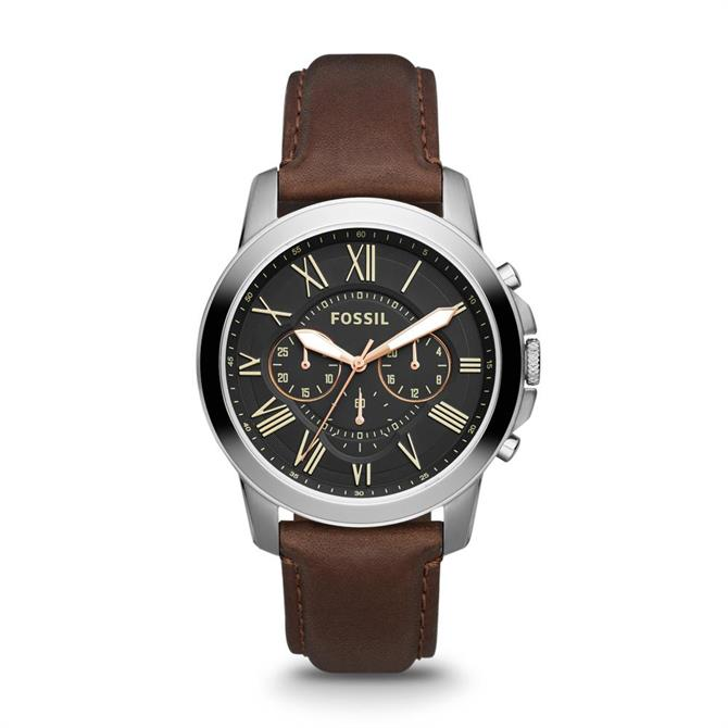 Fossil Grant Chronograph Brown Leather Mens Watch