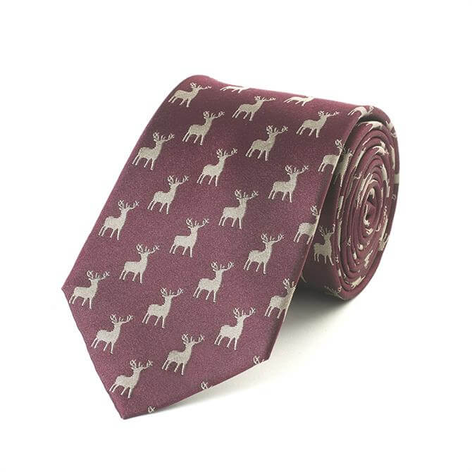 Fox & Chave Stag Tie in Plum