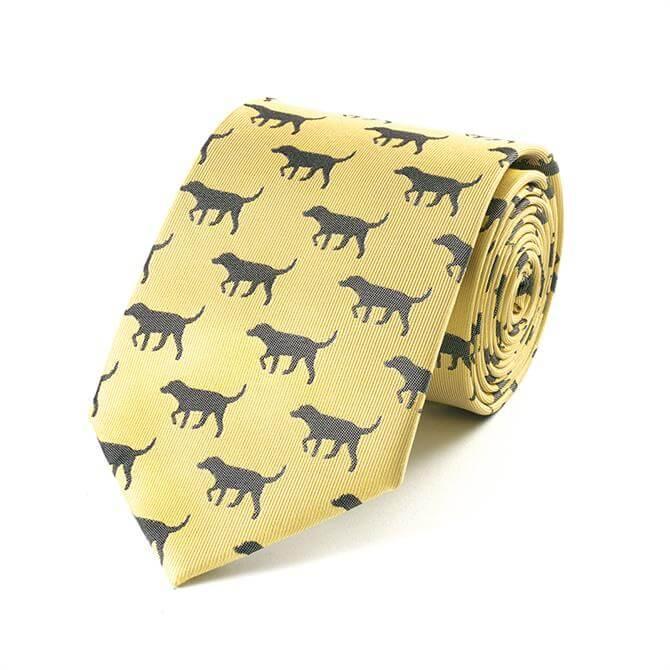 Fox & Chave Black Labrador Tie in Gold