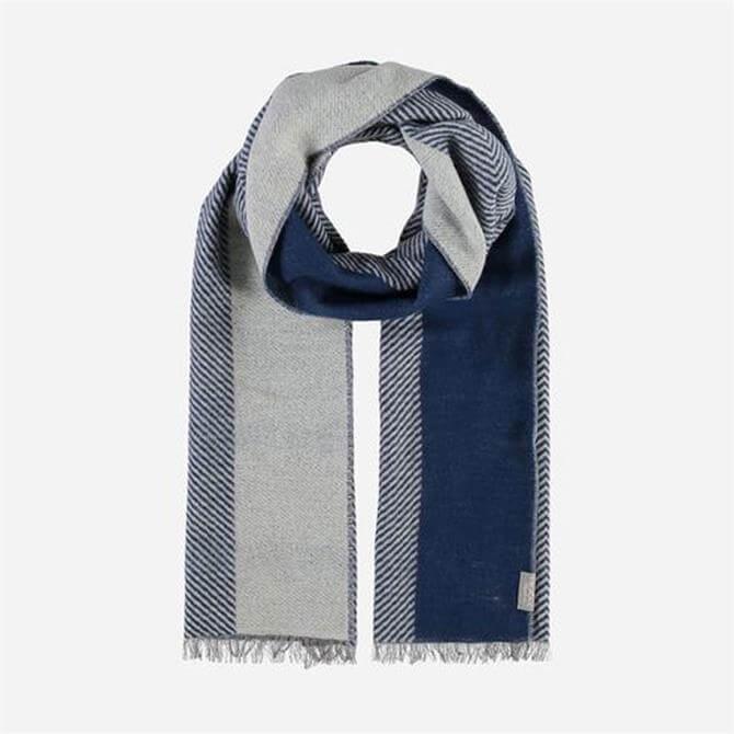FRAAS Cotton Blend Striped Herrringbone Blue Scarf