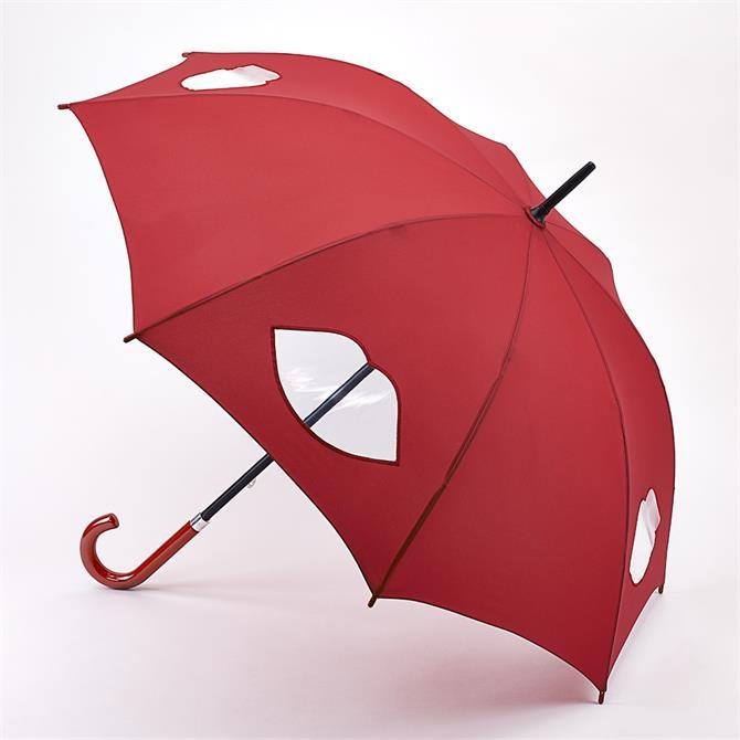 Lulu Guinness by Fulton Cut Out Lips Kensington Umbrella