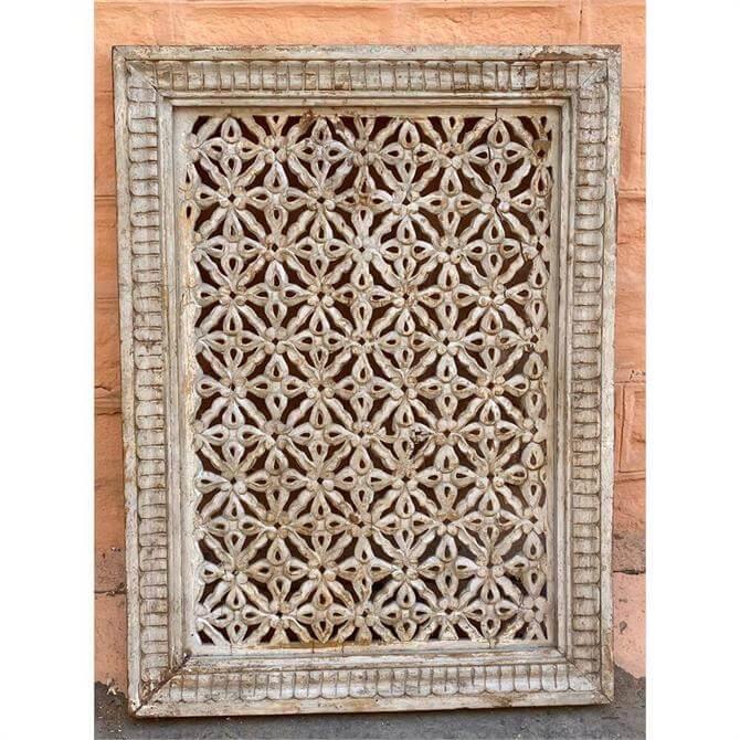 Eastern Inspired Wooden Jali Frame in White