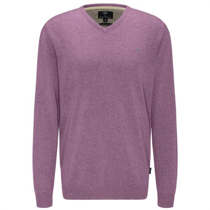 Fynch Hatton V Neck Linen and Cotton Blend Sweater