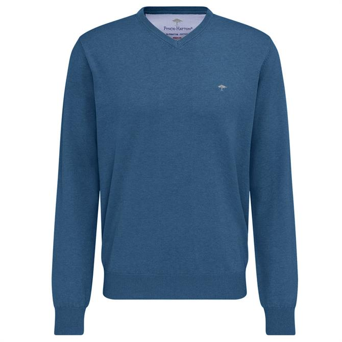 Fynch Hatton V Neck Classic Fit Cotton Sweater