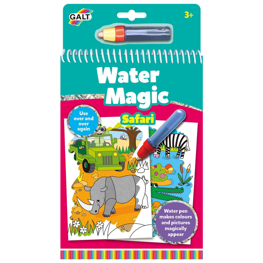 An image of Galt Water Magic Safari Colouring Book