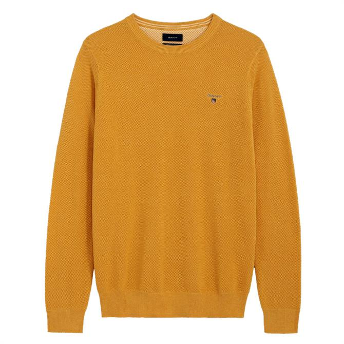 GANT Piqué Crew Neck Sweater AW19