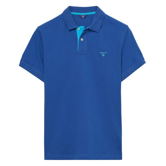 GANT Contrast Collar Polo Shirt in Yale Blue