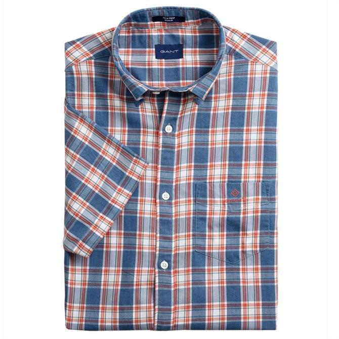 GANT Short Sleeved Tech Prep Indigo Check Shirt