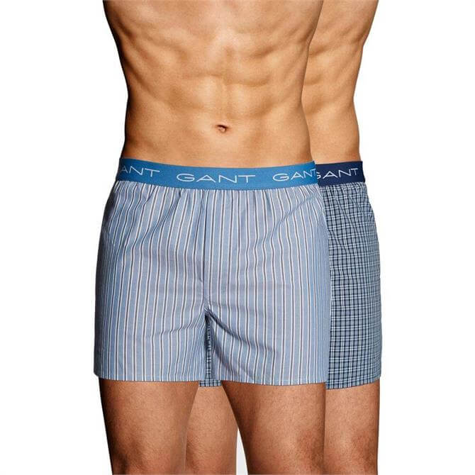 GANT Two-Pack Stripe Small Check Boxer Shorts