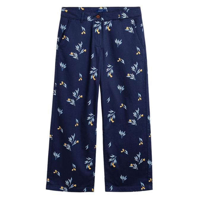 GANT Cropped Slim Floral Slouch Trouser