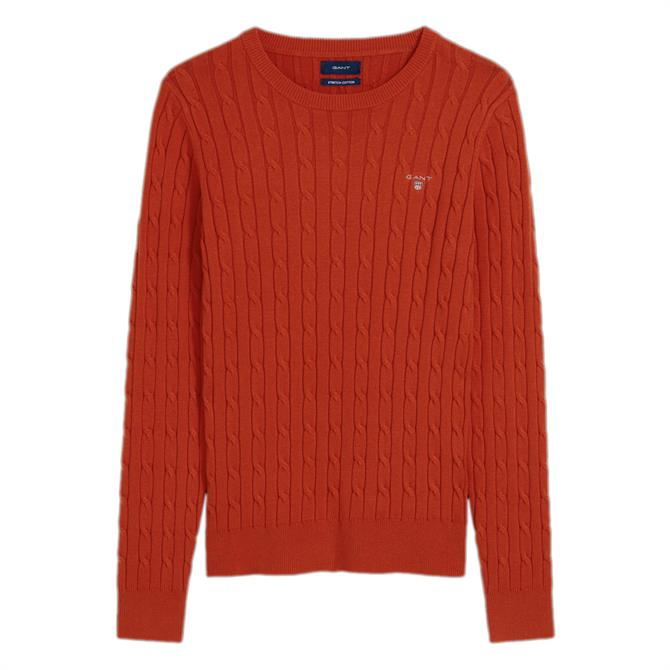 GANT Stretch Cotton Cable Crew Neck Sweater