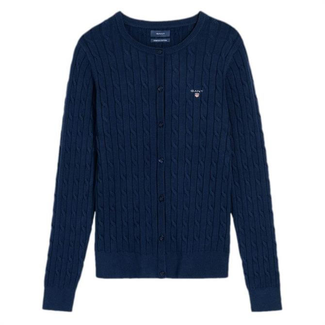 GANT Stretch Cotton Cable Crew Neck Cardigan