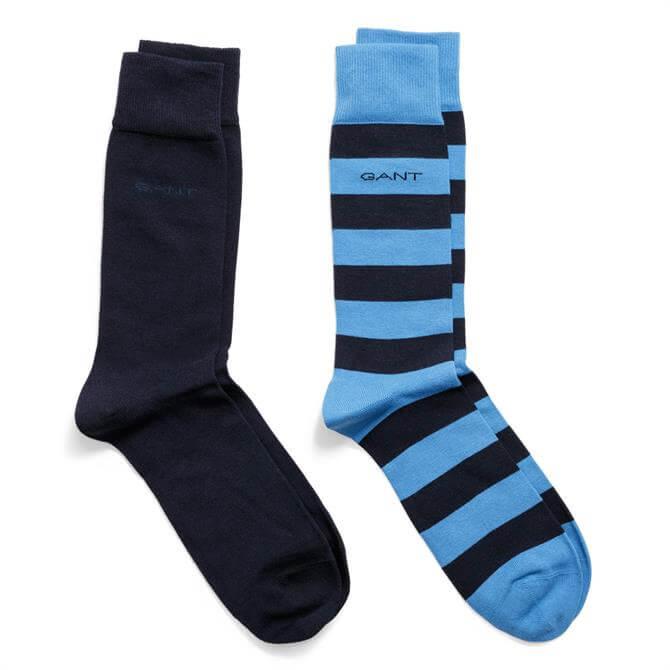 GANT Two-Pack Barstripe & Solid Socks