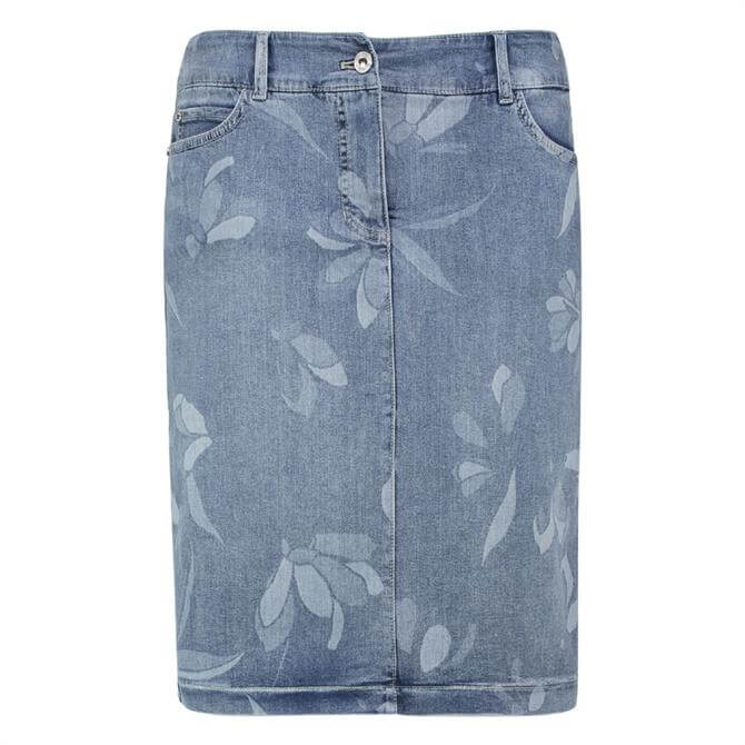 Gerry Weber Faded Floral Denim Skirt