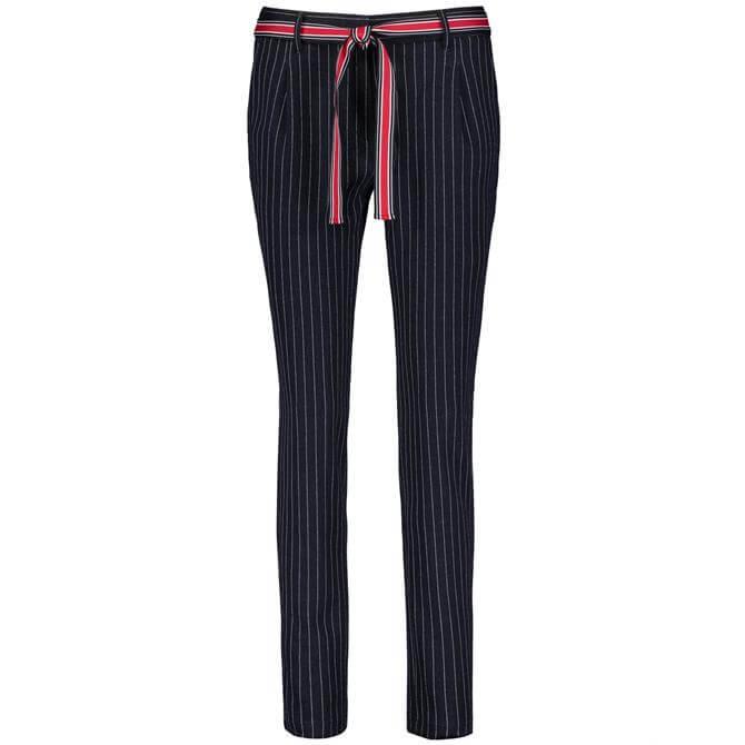 Gerry Weber Navy Slim Leg Pinstripe Trousers
