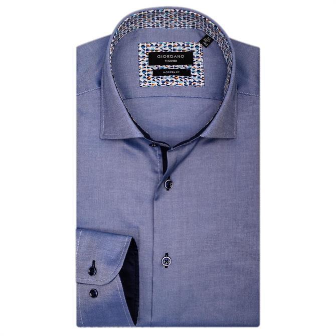 Giordano Brooks LS Semi Cutaway Navy Shirt