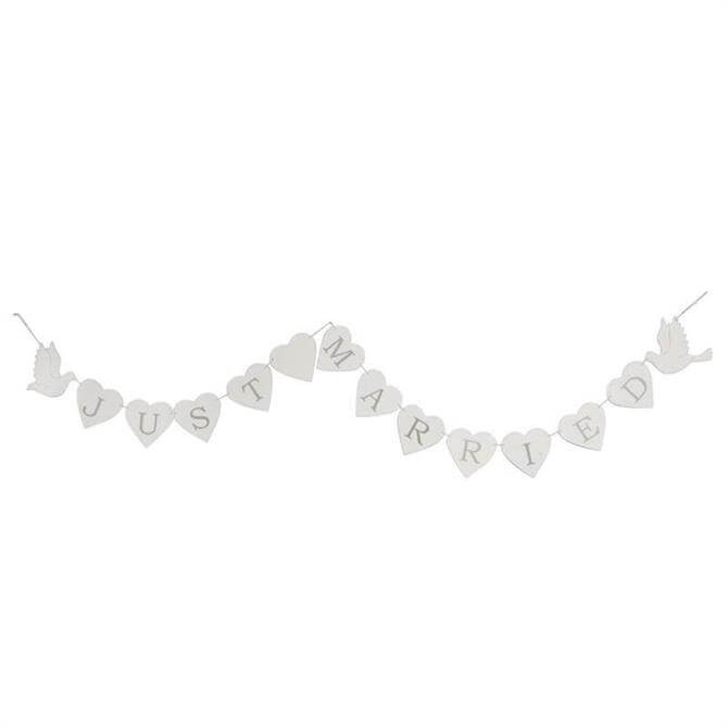 Gisela Graham White Wood Just Married Dove Garland