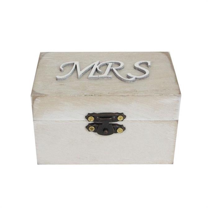 Gisela Graham Mrs White Wash Wooden Box