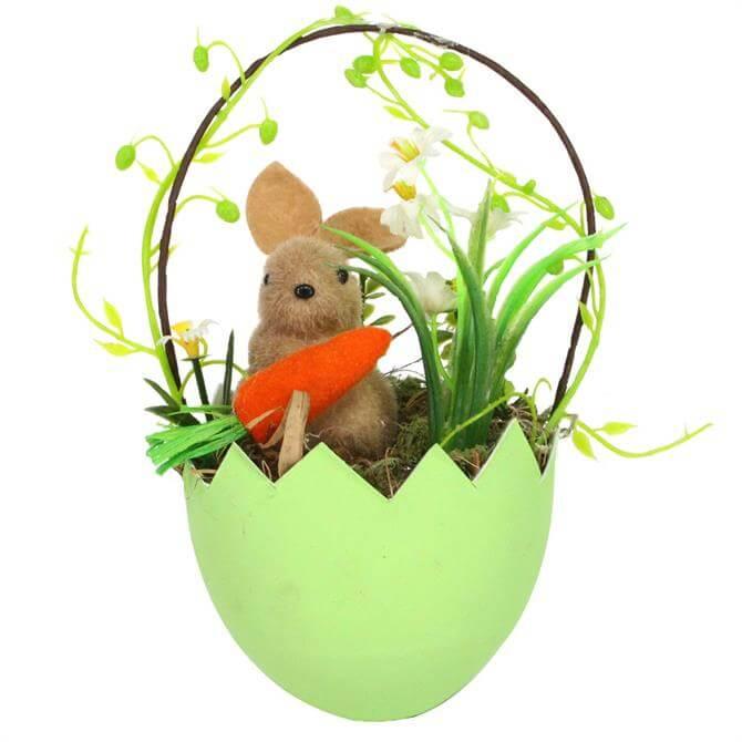 Gisela Graham Egg Basket With Flock Bunny & Carrot