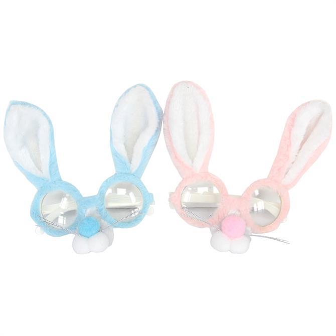 Gisela Graham Pink Blue Fabric Bunny Glasses