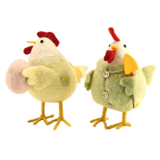 Gisela Graham Wool Mix Easter Hen Figures