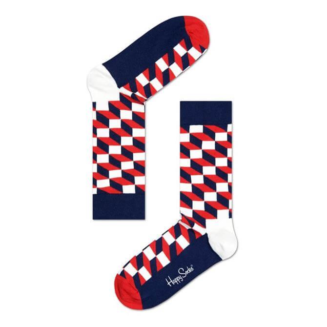 Happy Socks Filled Optic Red Combo Sock