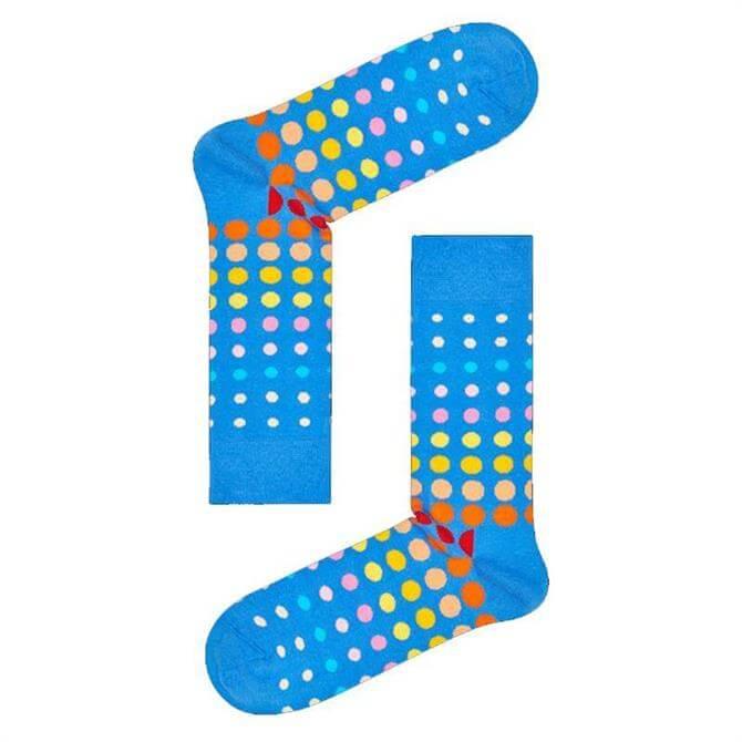 Happy Socks Faded Disco Dot Blue Sock
