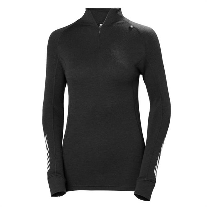 Helly Hansen Women's Classic Lifa Merino 1/2 Zip Base Layer Top- Black