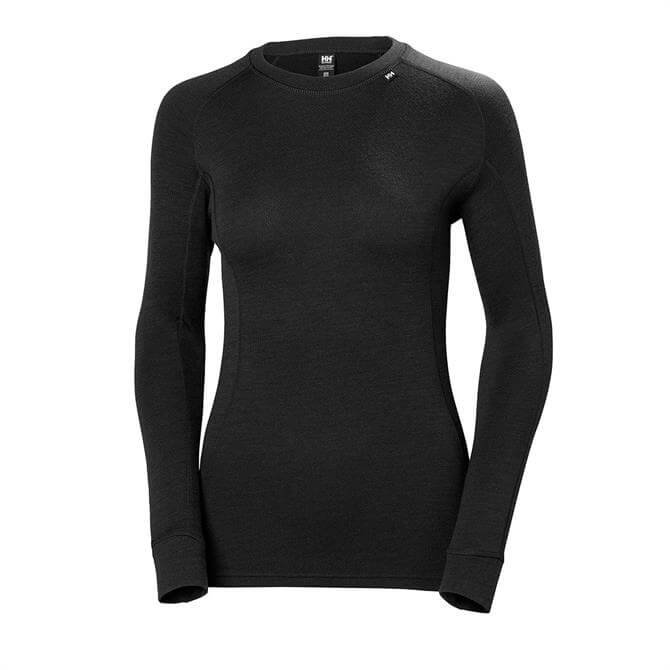 Helly Hansen Women's Lifa Merino Classic Crew Ski Base Top- Black