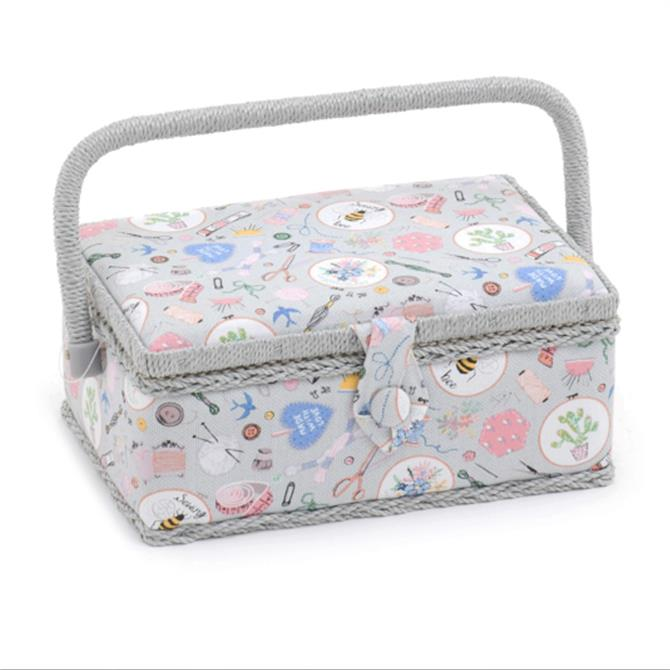 Small Patterned Rectangle Sewing Box