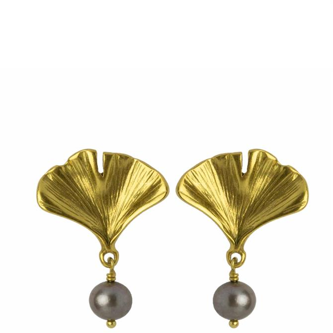Hultquist Gold Ginkgo Pearl Earrings