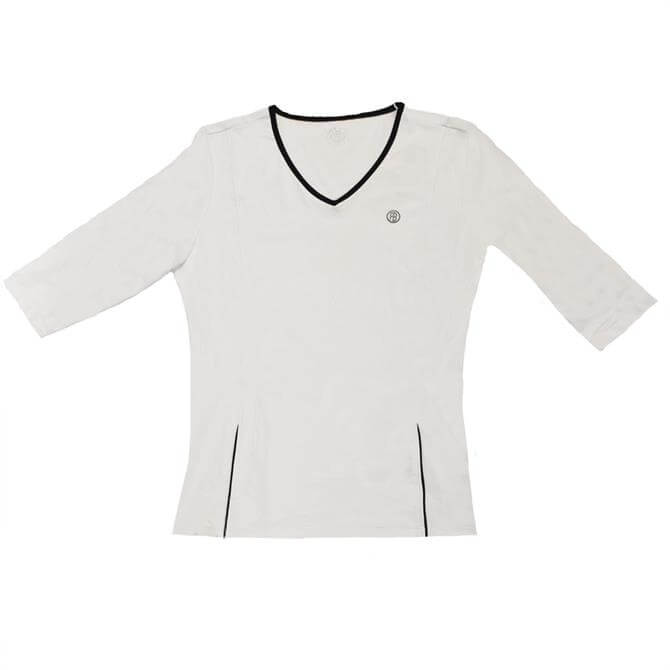 Poivre Blanc Women's  3/4 Tennis T-Shirt- White