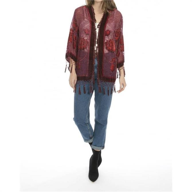 Jayley Floral Print Silk Devore Jacket