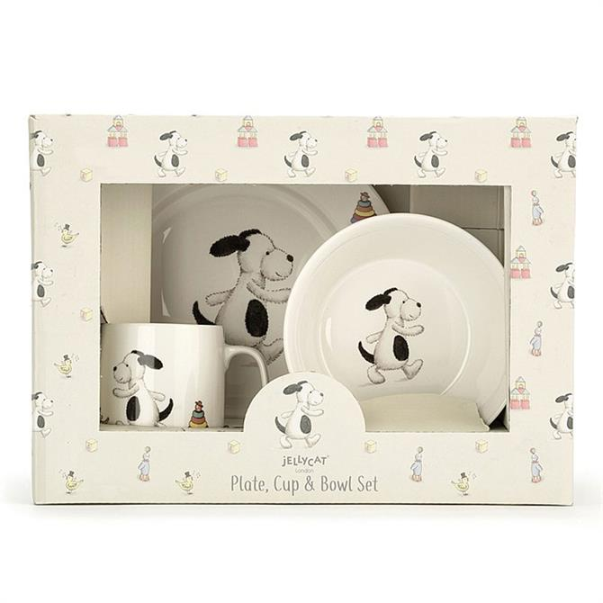 Jellycat Bashful Puppy Bowl Cup & Plate Set