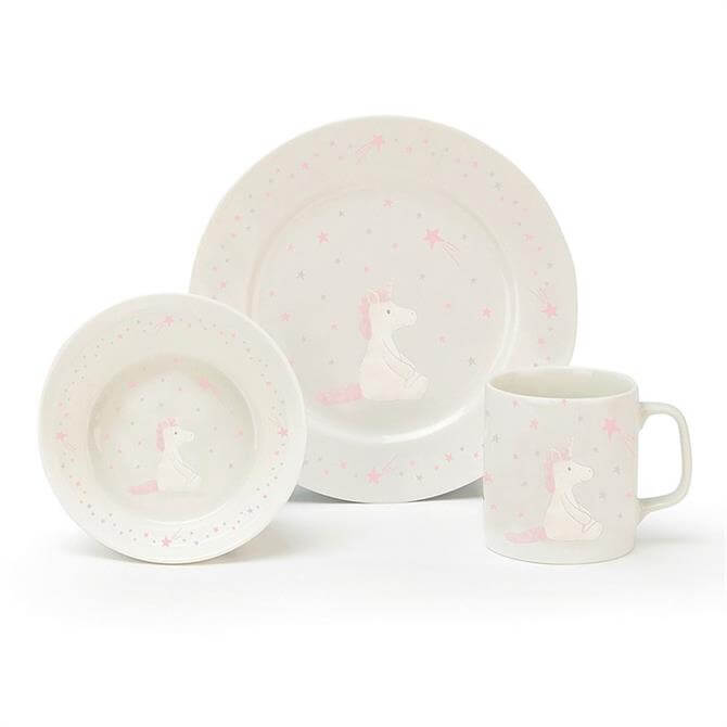 Jellycat Bashful Unicorn Bowl Cup & Plate Set