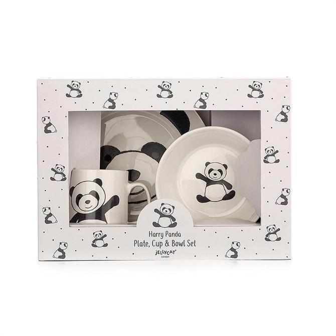 Jellycat Harry Panda Plate, Cup & Bowl Set