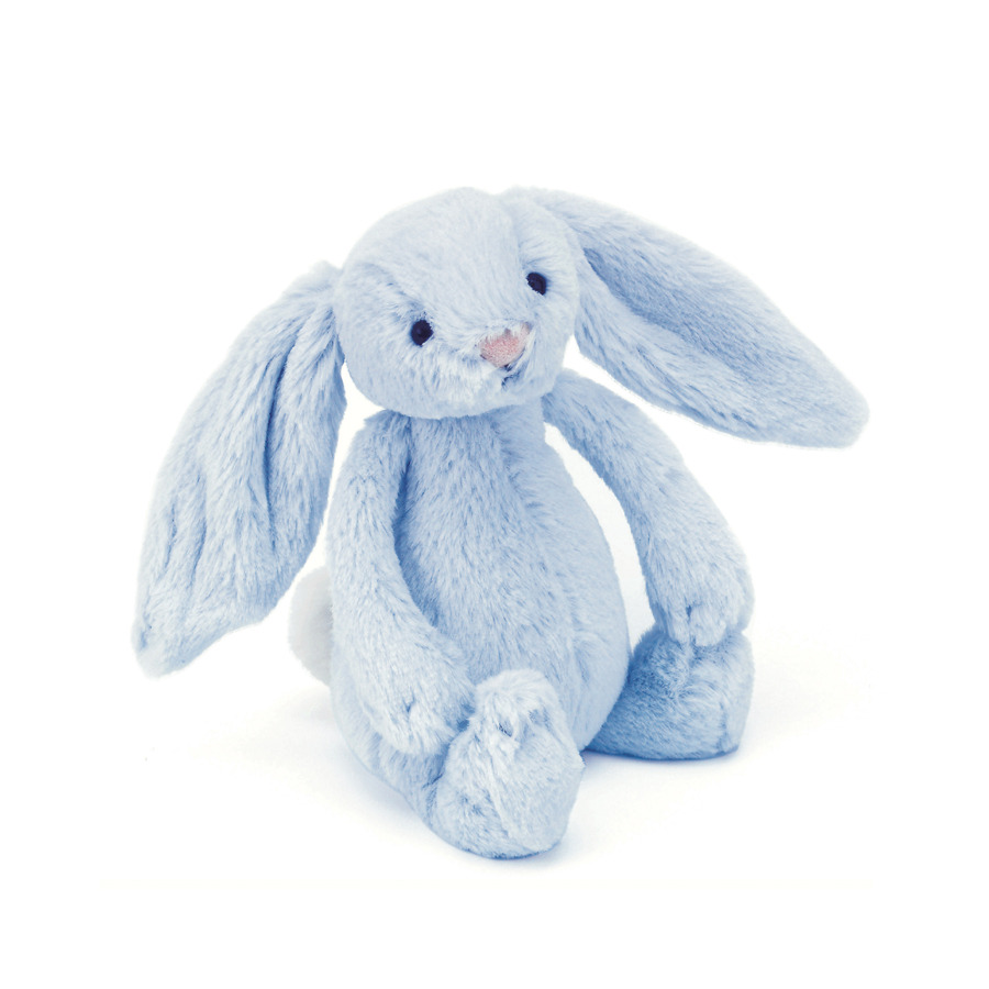 An image of Jellycat Bashful Blue Bunny Rattle