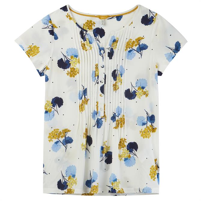 Joules Lucia Pintuck Short Sleeve Popover Top