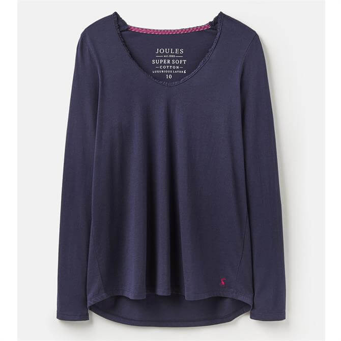 Joules Luna Lace Trim French Navy Top