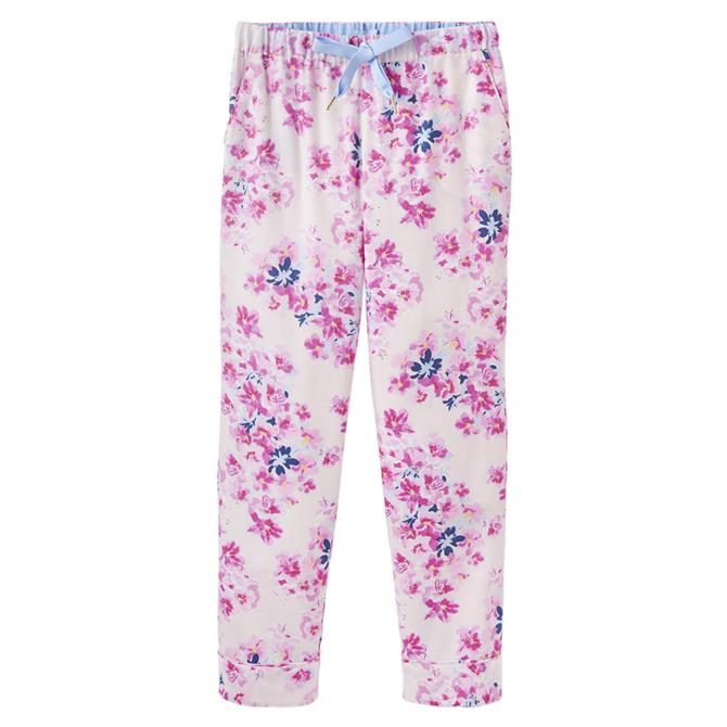 Joules Snooze Pink Floral Woven Pyjama Bottoms