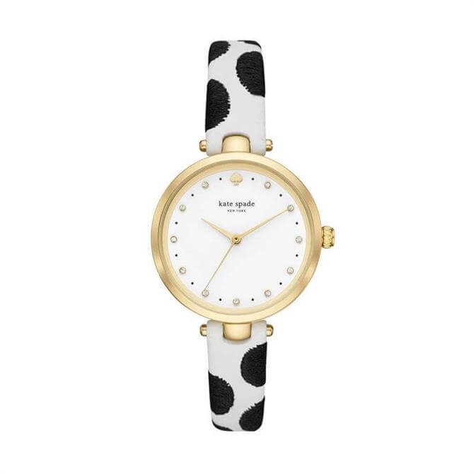 Kate Spade New York Gold Tone & Dotted White Leather Holland Watch
