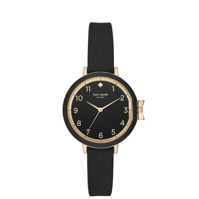 Kate Spade New York Gold Tone & Black Silicone Park Row Watch