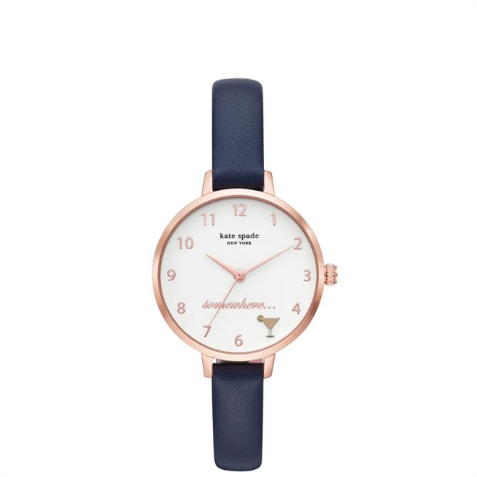 Kate Spade New York Metro Navy Leather Watch