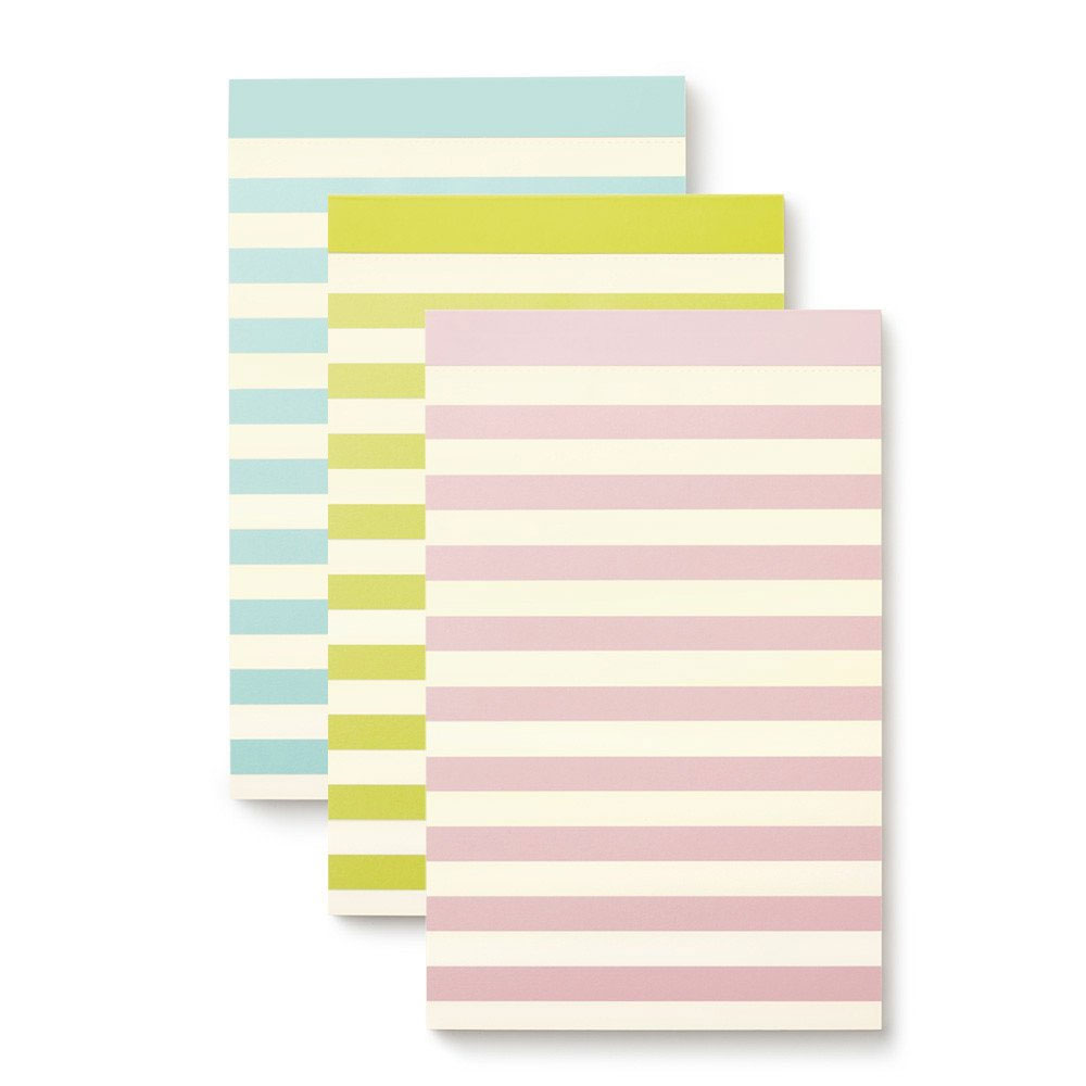 An image of Kate Spade Notepad Set Of 3 - PASTEL STRIPE
