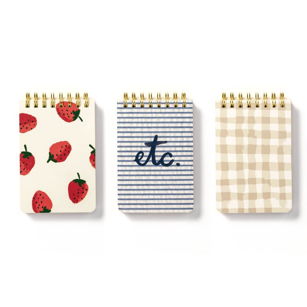 An image of Kate Spade Spiral Notepad Set Of 3 - STRAWBERRIES